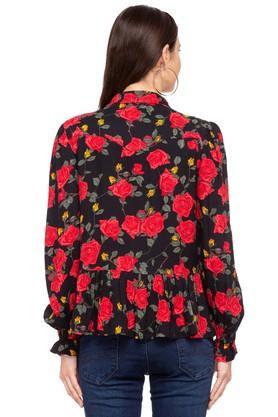 Womens Collared Printed Peplum Shirt