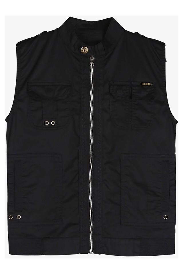 Boys Band Collar Solid Jacket