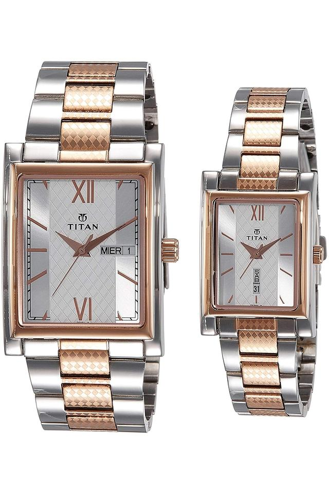Mens and Womens Analogue Stainless Steel Combo Watch - NK900242562KM01