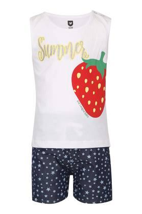 Girls Round Neck Printed Top and Shorts Set
