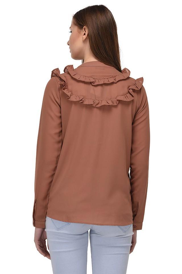 Womens Mandarin Collar Solid Ruffled Shirt