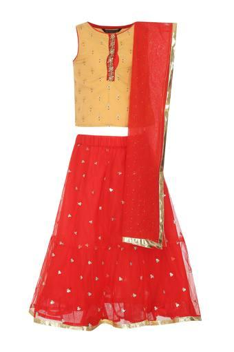 Girls Round Neck Printed Ghaghra Choli Dupatta Set