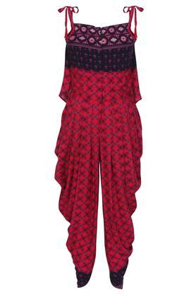 Girls Strappy Neck Printed Top and Dhoti Set