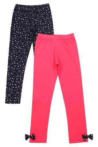 Girls Solid And Printed Leggings - Pack of 2