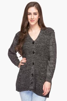 ONER Womens V Neck Kintted Slub Cardigan