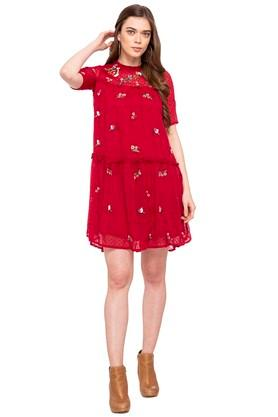 Womens Ruffled Collar Embroidered Mini Dress