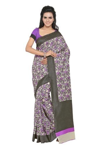 Womens Floral Print Saree with Blouse Piece
