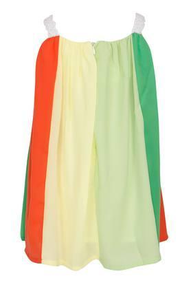Girls Square Neck Colour Block A-Line Dress