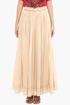 LABEL RITU KUMAR Womens Solid Long Skirt