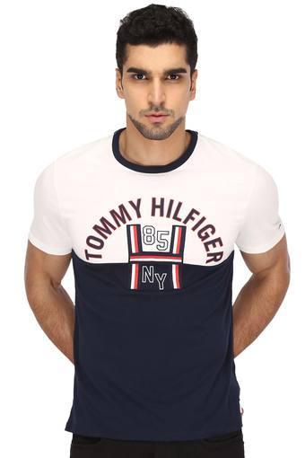 77a9d2892 Buy TOMMY HILFIGER Mens Round Neck Colour Block T-Shirt   Shoppers Stop