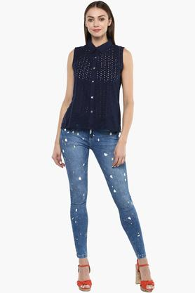Womens Perforated Casual Top