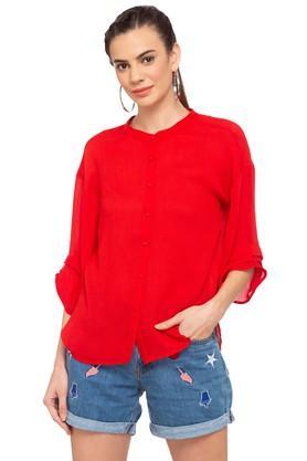 Womens Mandarin Neck Solid Shirt