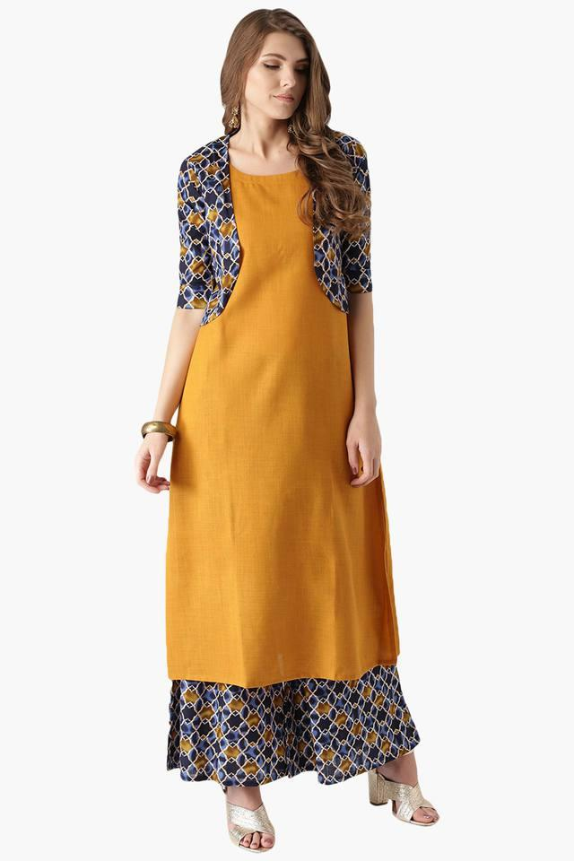 a40df0a1669 Buy LIBAS Womens Cotton Solid Kurta With Jacket And Printed Palazzo ...
