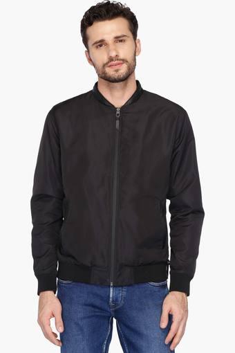 27c04199b8cf Buy BLACKBERRY'S URBAN Mens Slim Fit Mao Collar Solid Jacket   Shoppers Stop
