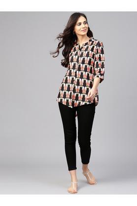Womens Mandarin Neck Regular Fit Printed Shirt