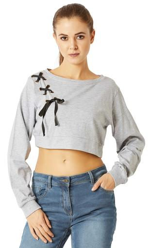 Womens Loose Fit Round Neck Slub Tie Up Boxy Crop Top