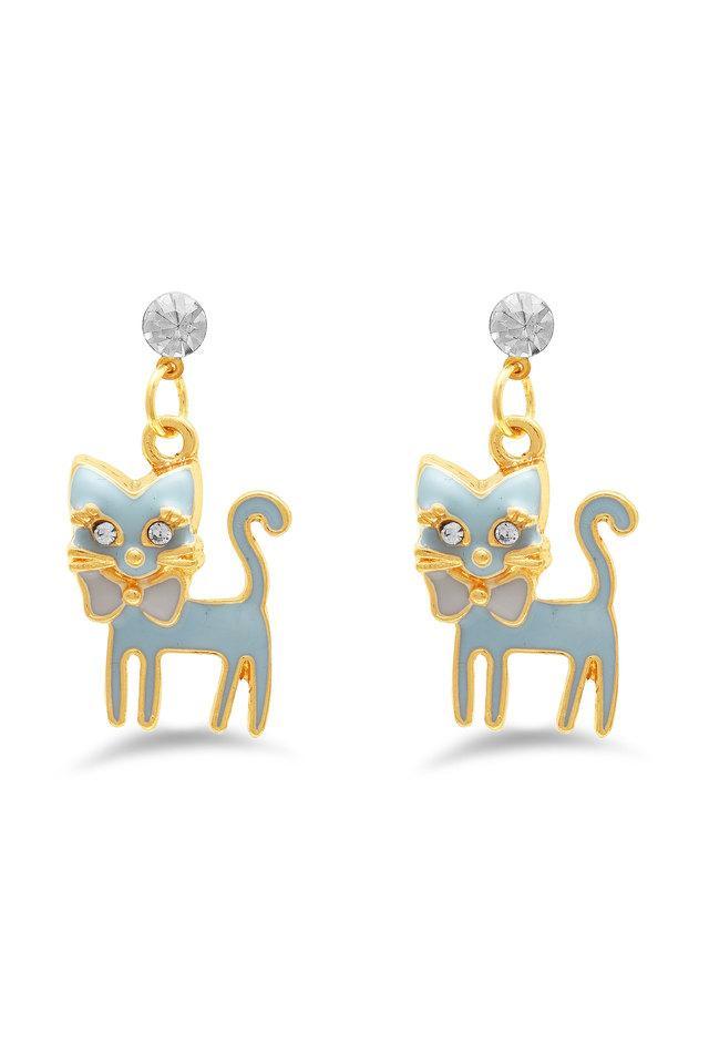 Womens Gold Plated Metallic Cat Drop Earrings