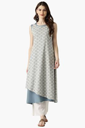 LIBAS Womens Cotton Printed Double Layered A-Line Kurta