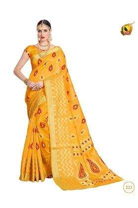 ASHIKAWomens Printed Saree With Blouse Piece - 204576953_9412