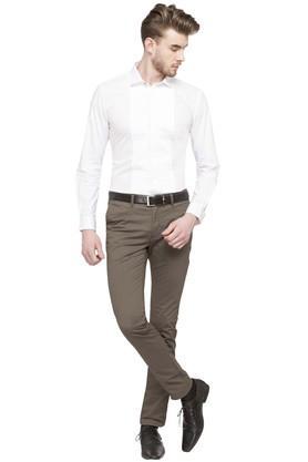Mens Regular Collar Solid Pintuck Shirt