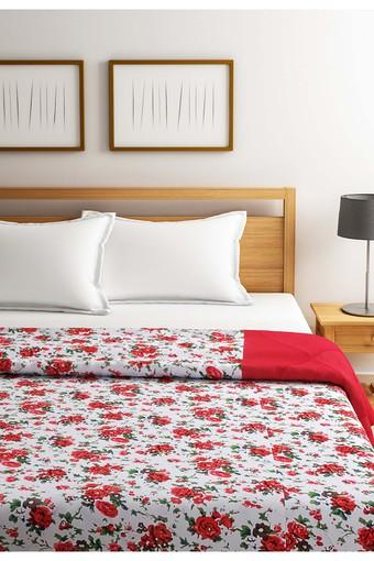 Red and White Floral Single AC Comfortor