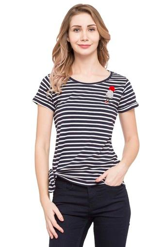 Womens Round Neck Stripe Top