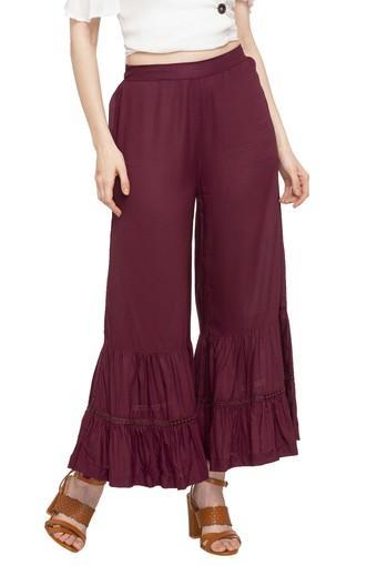 Womens Solid Sharara Pants