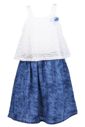 Girls Round Neck Lace A-Line Dress with Belt