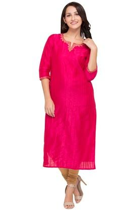 KASHISH Womens Notched Neck Embroidered Kurta