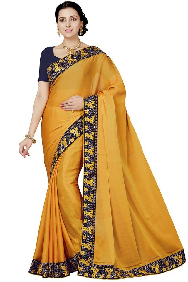 Womens Solid Saree with Blouse Piece