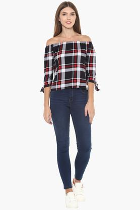Womens Off Shoulder Check Top