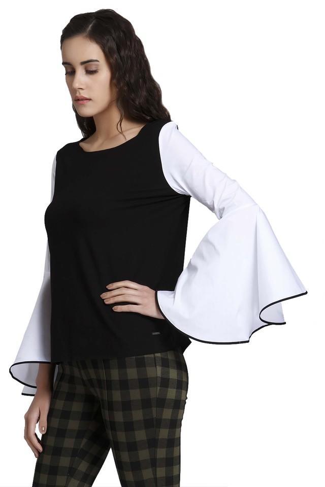 Womens Designer Neck Colour Block Top