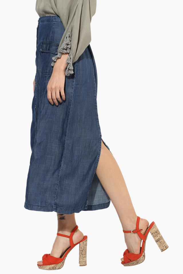 Womens Solid Mid Calf Skirt