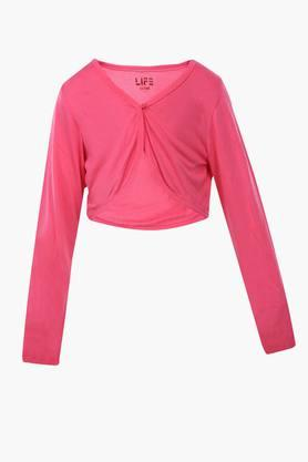 Girls Round Neck Solid Shrug