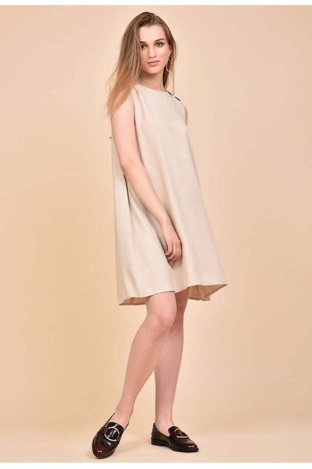 Womens Round Neck Slub Knee Length Dress