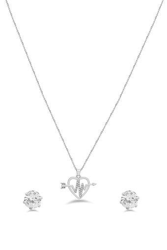 Womens Heart Silver Plated Set