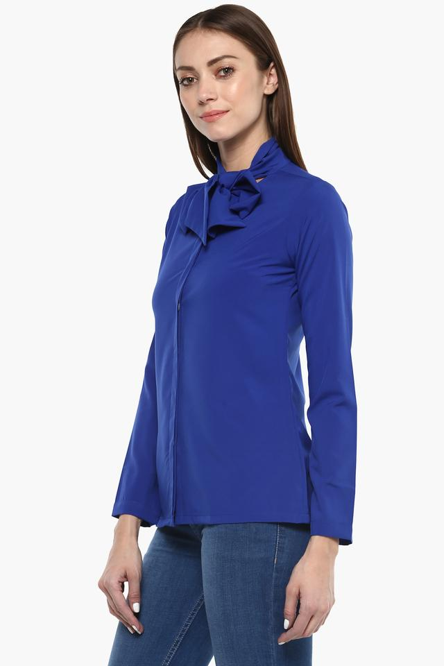 Womens Tie Up Neck Solid Shirt