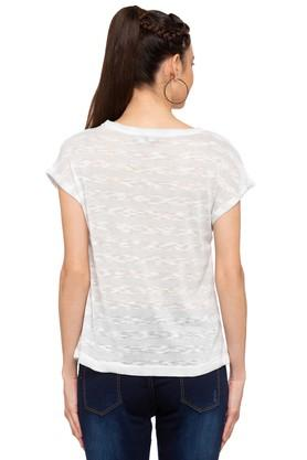 Womens Round Neck Knitted Pattern T-Shirt
