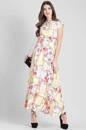 Womens Round Neck Floral Print Maxi Dress