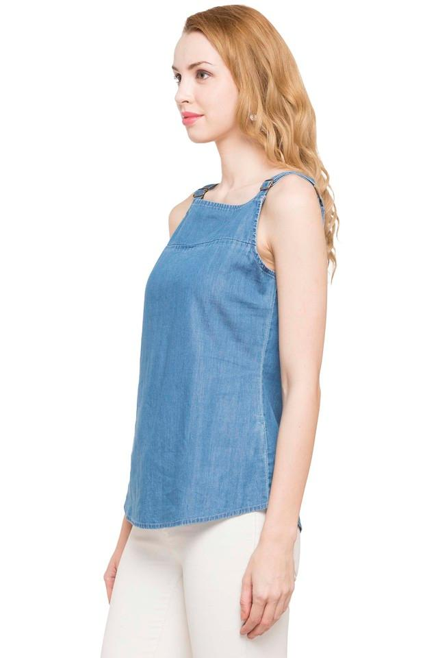 Womens Square Neck Slub Top