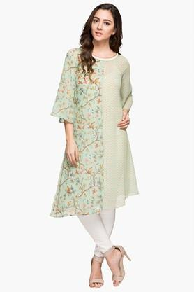 FUSION BEATS Womens Round Neck Printed Asymmetrical Kurta