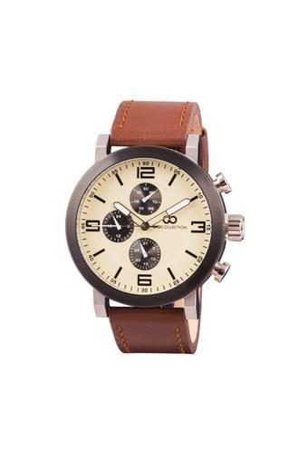 Mens Beige Dial Multi-Function Watch