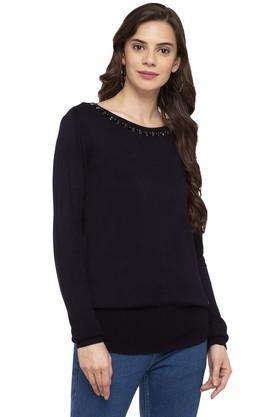 VAN HEUSENWomens Round Neck Solid Sweater