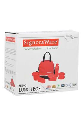 SIGNORAWARE Airtight 4 Containers, 1 Bottle And Lunch Box With Bag Set Of 6