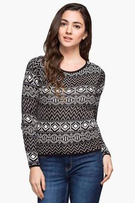 RS BY ROCKY STAR Womens Round Neck Printed Sweater