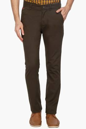 WROGN Mens Slim Fit Mid Rise Chinos