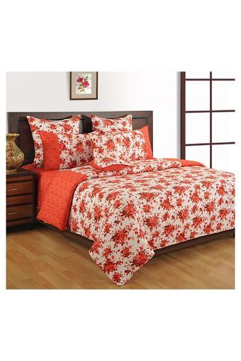 Off White and Red Floral Double AC Comfortor