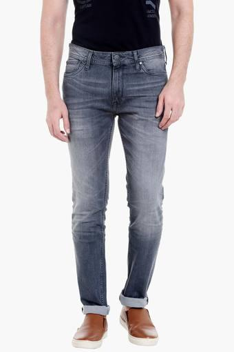 Mens 5 Pocket Skinny Fit Heavy Wash Jeans