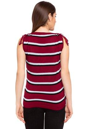 Womens V- Neck Striped Top