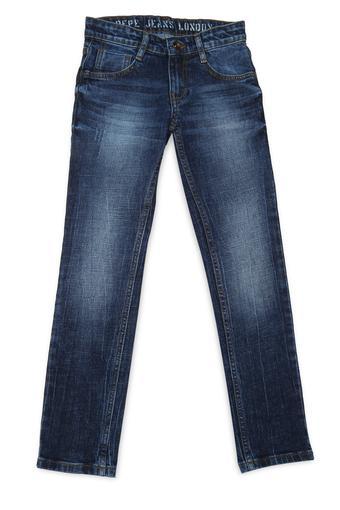 Boys 5 Pocket Whiskered Effect Jeans
